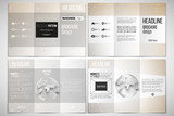 Set of tri-fold brochure design template on both sides with world globe element. Abstract polygonal low poly backdrop, connecting dots and lines, connection structure. Vector or digital science