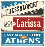 Retro Signs set with cities in Greece