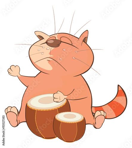 Plexiglas Illustration of a Cute Cat Drummer. Cartoon Character
