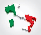 3D vector Flag Map of Italy