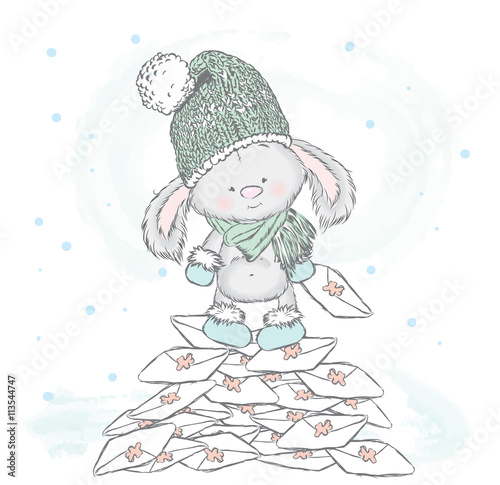 Fototapeta Cute hare standing on a pile of letters. Vector illustration for greeting card, poster, or print on clothes. Cute rabbit in a hat and boots.