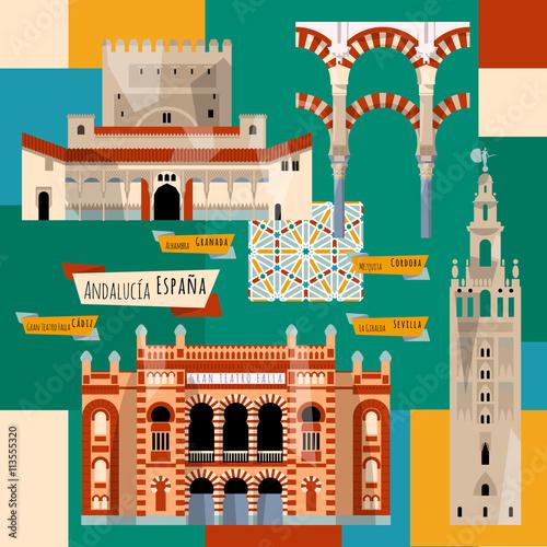 Sights of Andalusia. Seville, Granada, Cordoba, Cadiz, Spain, Europe.