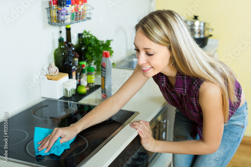 Poster Housewife cleaning electric panel