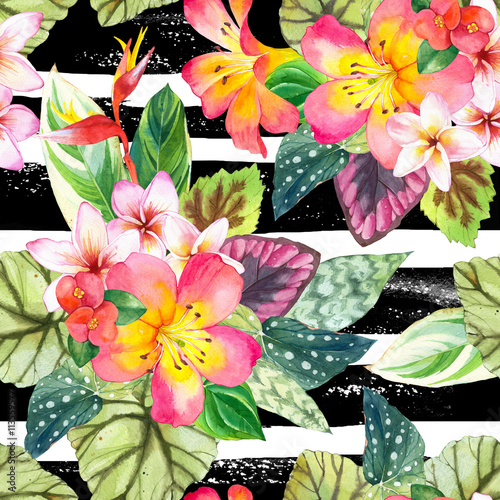 Cotton fabric Seamless background with watercolor tropical flowers.