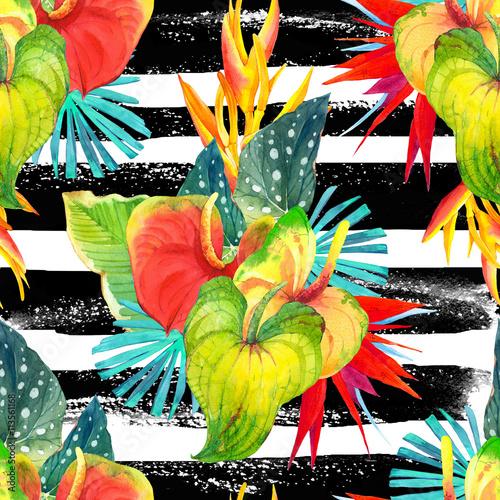 Stoffe zum Nähen Nahtlose Hintergrund mit Aquarell tropischen Blumen.