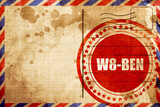 W8-ben, red grunge stamp on an airmail background