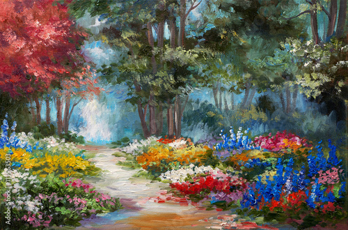 Fototapety, obrazy : Oil painting landscape - colorful forest