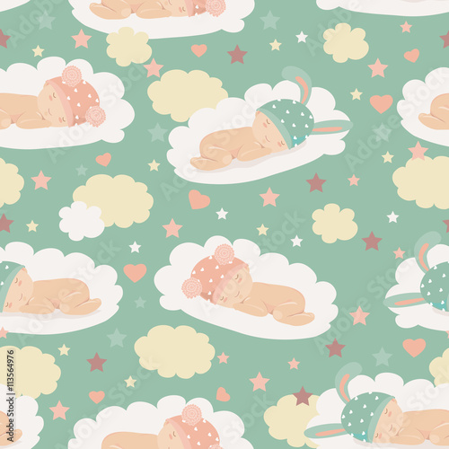 Cotton fabric Baby theme seamless pattern