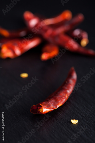 Dried red chili peppers on
