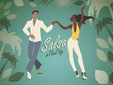Fototapety Salsa in the City Tropical. Handsome man and beautiful girl dancing latin music