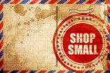 shop small, red grunge stamp on an airmail background