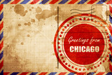Greetings from chicago, red grunge stamp on an airmail backgroun