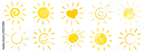 drawn sun icons