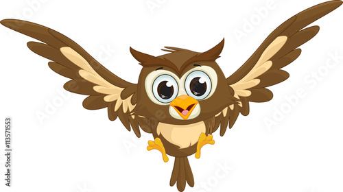 cute owl cartoon flying