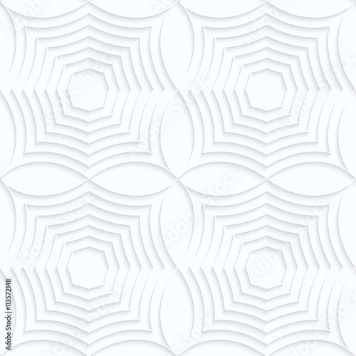 Quilling white paper striped spider webs in row - 113572148