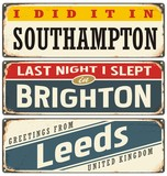 Cities in England retro tin signs collection