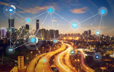 Fototapety smart city and wireless communication network, abstract image visual, internet of things