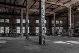 abandoned factory interior - old building ruin