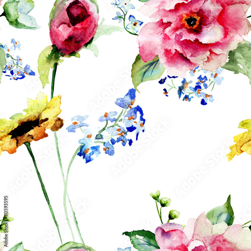 Seamless pattern with Decorative summer flowers - 113593595