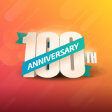 100th Anniversary 3D on orange background