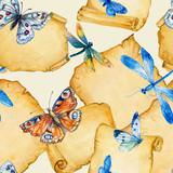 Бабочки и стрекозы на свитках бумаги.