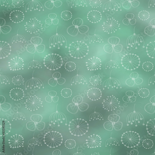 Hand drawn textured watercolor floral background. Vintage green template with little flowers, leaves. Decorative pattern Series of Watercolor, Oil, Pastel and Drawn Backgrounds. - 113595529