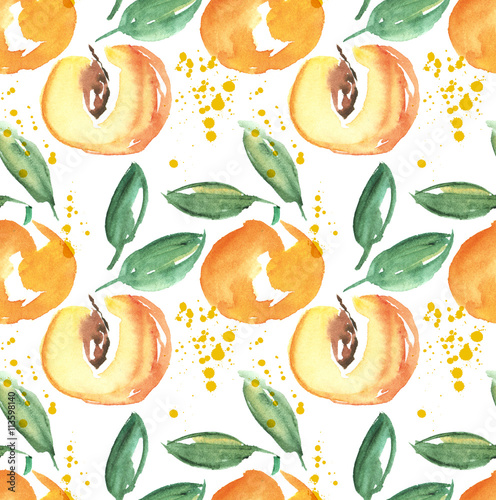 watercolor apricot fruit illustration. hand drawn paint image - 113598140