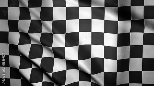 Foto op Plexiglas F1 Checkered Flag Close-up. Looping animation of a checkered finish flag. 3D rendering. 4K