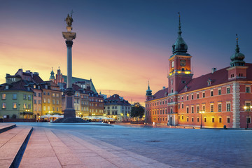 Warsaw. Image of Old Town Warsaw, Poland during sunset.