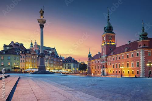 Zdjęcia na płótnie, fototapety na wymiar, obrazy na ścianę : Warsaw. Image of Old Town Warsaw, Poland during sunset.