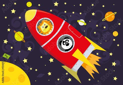 lot-w-kosmos-panda-i-lew,-rakieta,-bajki,-gwiazdy,-planety