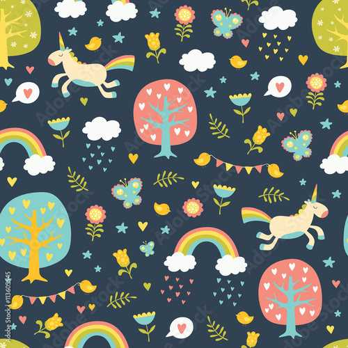 Cotton fabric Lovely vector seamless pattern with cute unicorns.