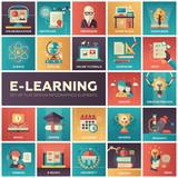 Fototapety E-learning - modern flat design isquare icons