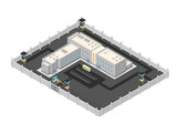 Isometric vector illustration of a contemporary Jail building.