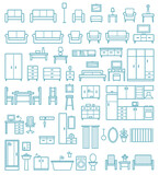 Vector home furniture outline icons set 2 - 113610140