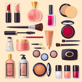 Set of decorative cosmetics, poster for beauty  & fashion store, web design