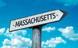 Massachusetts direction sign in a concept image