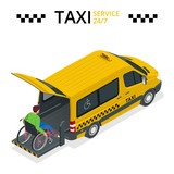 Fototapety Minibus for physically disabled people. Taxi or car for man on wheelchair. Vehicle with a lift. Flat 3d vector isometric illustration.