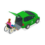 Fototapety Taxi or car for woman on wheelchair. Vehicle with a lift. Mini car for physically disabled people. Flat 3d vector isometric illustration