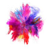 Fototapety Explosion of colored powder on white background