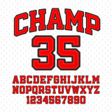 Tackle Twill style Champ typeface. Embroidered sports font. Letters and numbers.