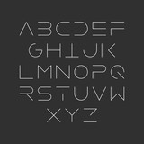 Extra thin line style, linear uppercase modern font, typeface, minimalist style. Latin alphabet letters