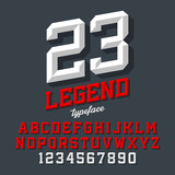 Legend typeface. Beveled sport style retro font. Letters and numbers.