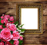 Pink flowers arrangement and a frame