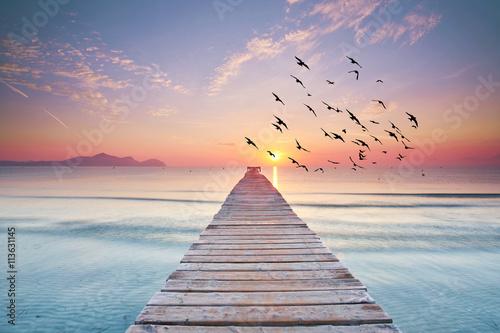 langer Holzsteg am Meer zum Sonnenaufgang - 113631145