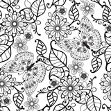Hand drawn Decorative pattern with floral ornament  flowers and