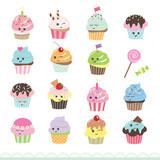 Fototapety Kawaii cupcakes set. Cute cartoon characters.