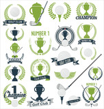 Golf and golfing sport design elements collection