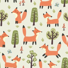 Forest seamless pattern with cute little foxes and trees