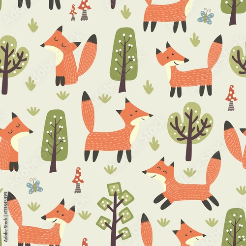 Cotton fabric Forest seamless pattern with cute little foxes and trees
